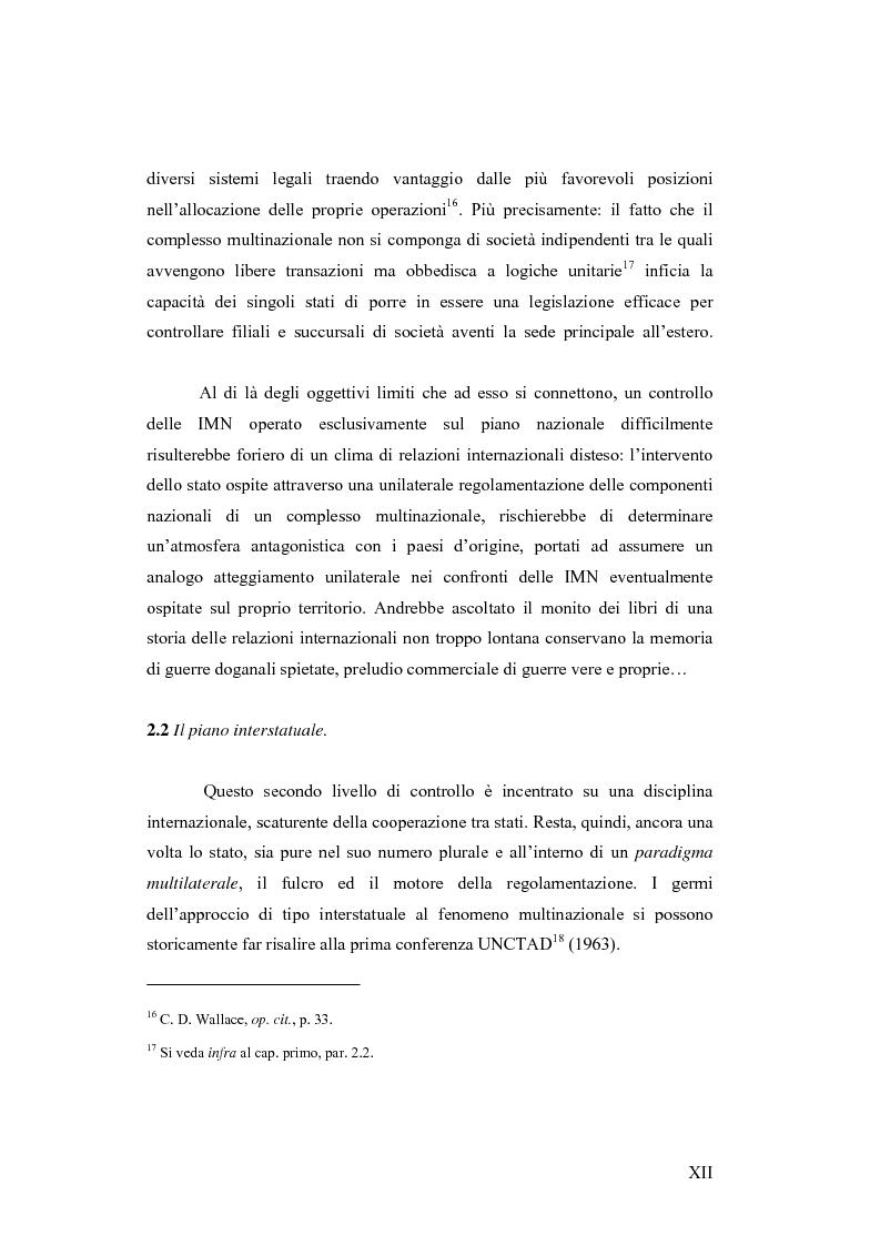 Anteprima della tesi: Il c.d. Approccio transnazionale al controllo delle attività delle imprese multinazionali: il fenomeno dei codici di condotta privati, Pagina 7