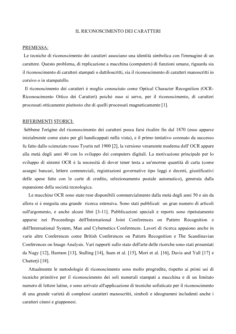 Anteprima della tesi: Riconoscimento Di Caratteri Manoscritti Mediante Rete Neurale Addestrata Con Algoritmo Costruttivo Topologico, Pagina 1
