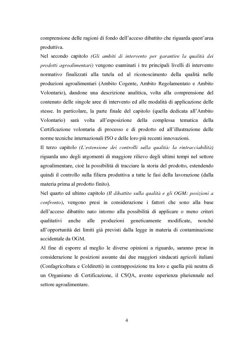 Anteprima della tesi: I Profili della Qualità nel Settore Agroalimentare, Pagina 4