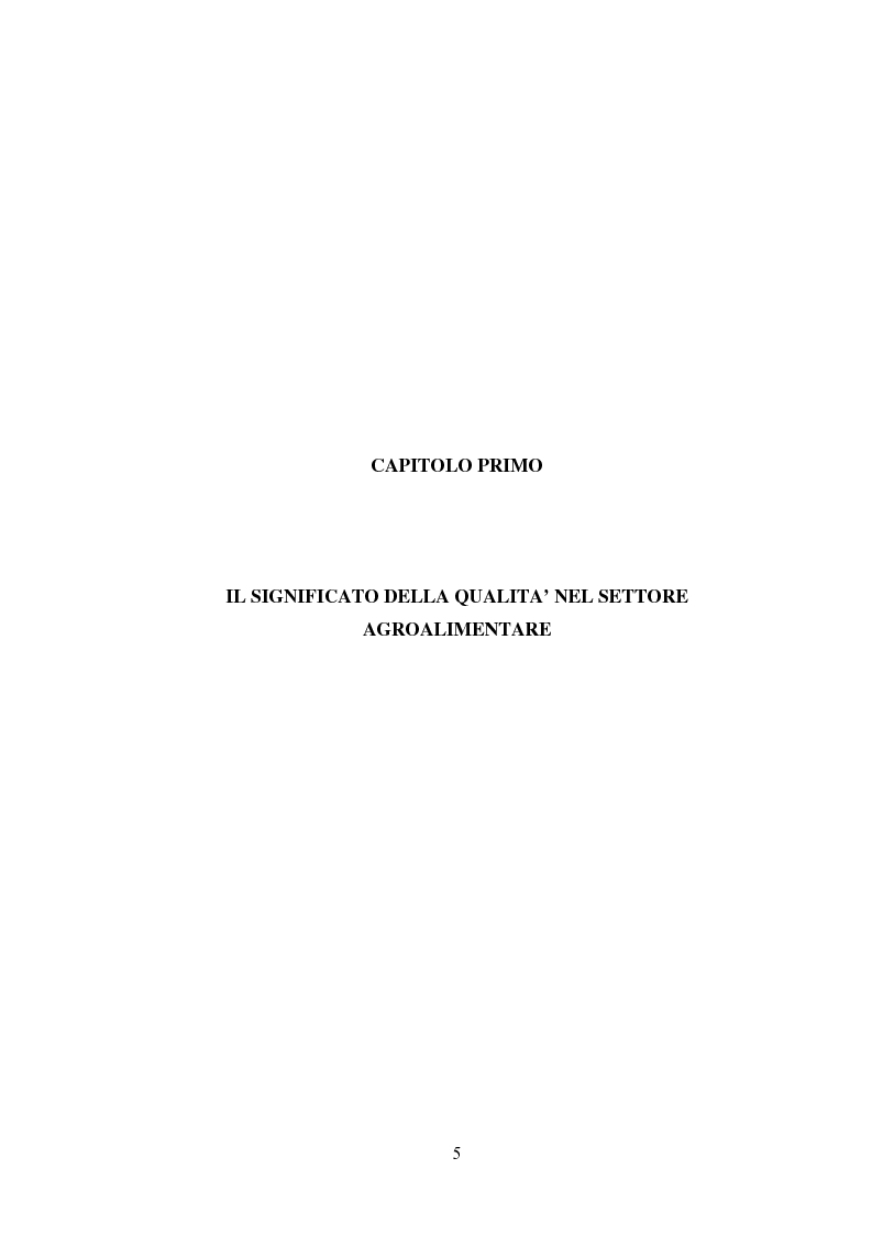 Anteprima della tesi: I Profili della Qualità nel Settore Agroalimentare, Pagina 5