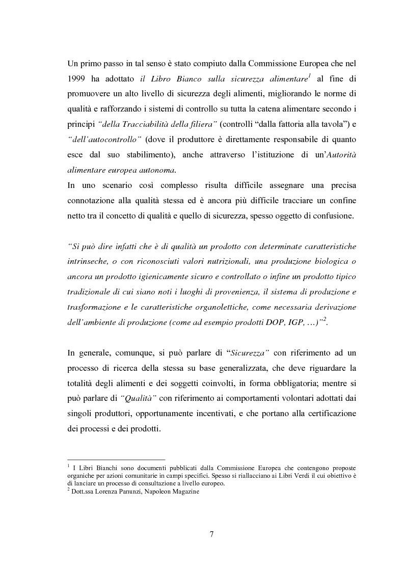 Anteprima della tesi: I Profili della Qualità nel Settore Agroalimentare, Pagina 7