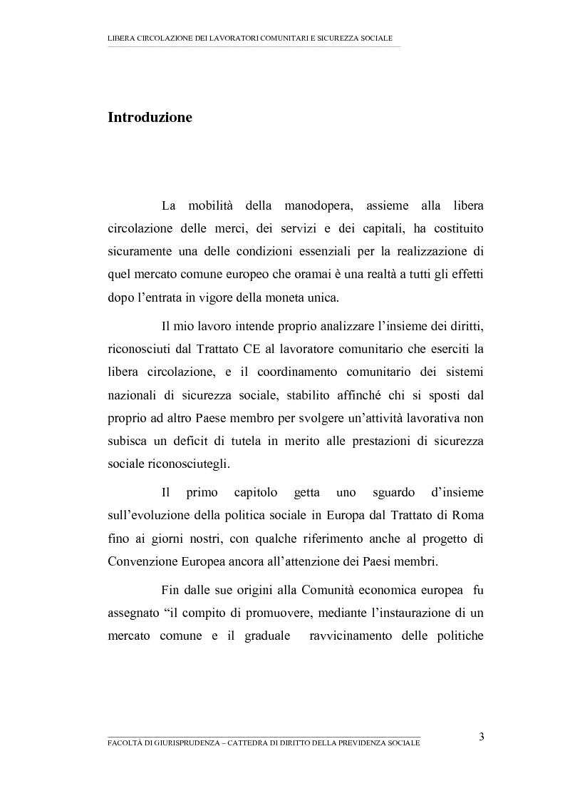 Anteprima della tesi: Libera circolazione dei lavoratori comunitari e sicurezza sociale (La protezione sociale per coloro che si spostano nell'UE), Pagina 1