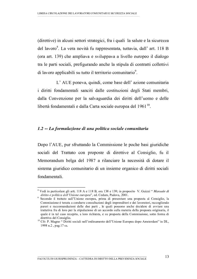 Anteprima della tesi: Libera circolazione dei lavoratori comunitari e sicurezza sociale (La protezione sociale per coloro che si spostano nell'UE), Pagina 11