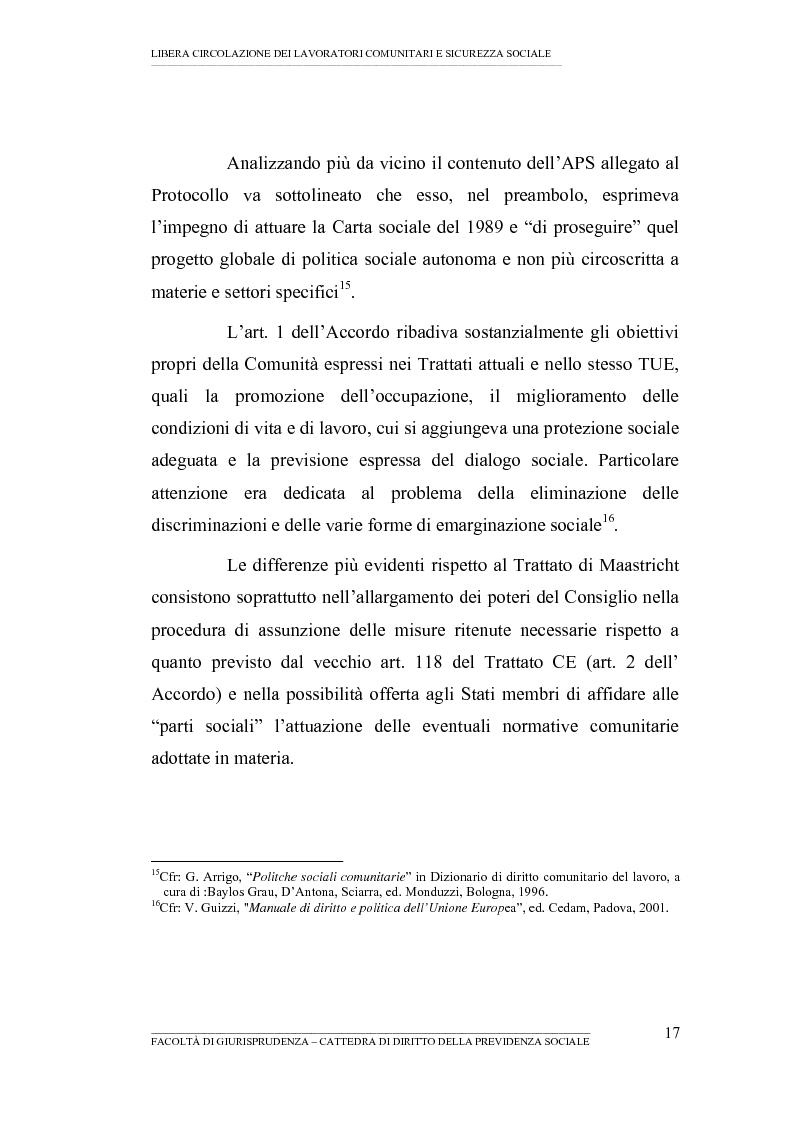 Anteprima della tesi: Libera circolazione dei lavoratori comunitari e sicurezza sociale (La protezione sociale per coloro che si spostano nell'UE), Pagina 15