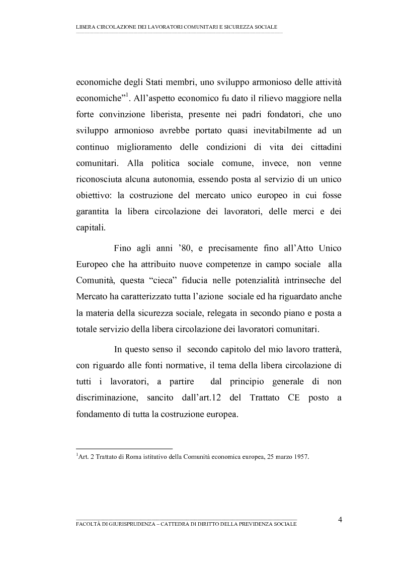 Anteprima della tesi: Libera circolazione dei lavoratori comunitari e sicurezza sociale (La protezione sociale per coloro che si spostano nell'UE), Pagina 2