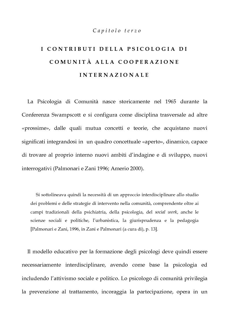 Anteprima della tesi: Cooperazione Internazionale allo sviluppo nella prospettiva della psicologia di comunità, con particolare riferimento agli interventi d'emergenza umanitaria, Pagina 8