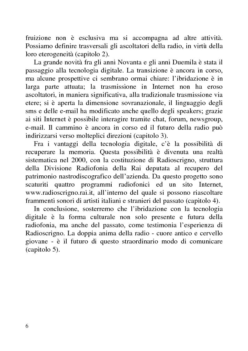 Anteprima della tesi: Radio Futuro. Tecnologie digitali e recupero della memoria. Il caso Rai-Radioscrigno, Pagina 2