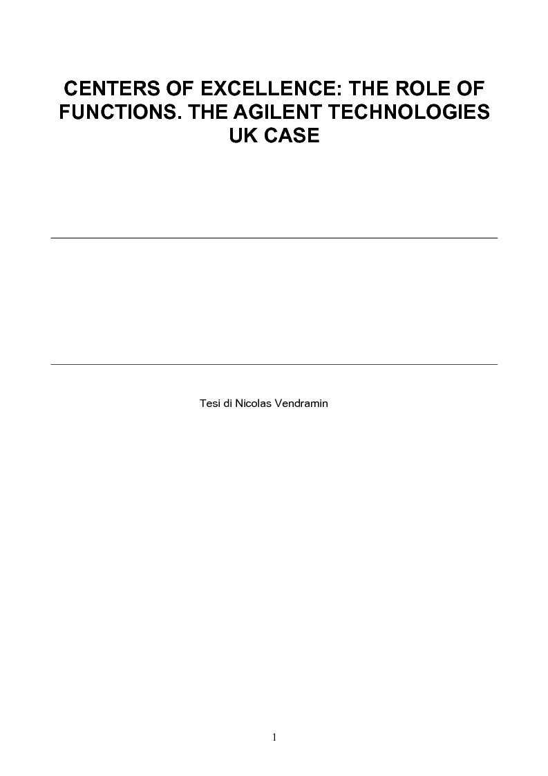 Anteprima della tesi: Centers of Excellence: The Role of Functions. The Agilent Technologies UK case, Pagina 1
