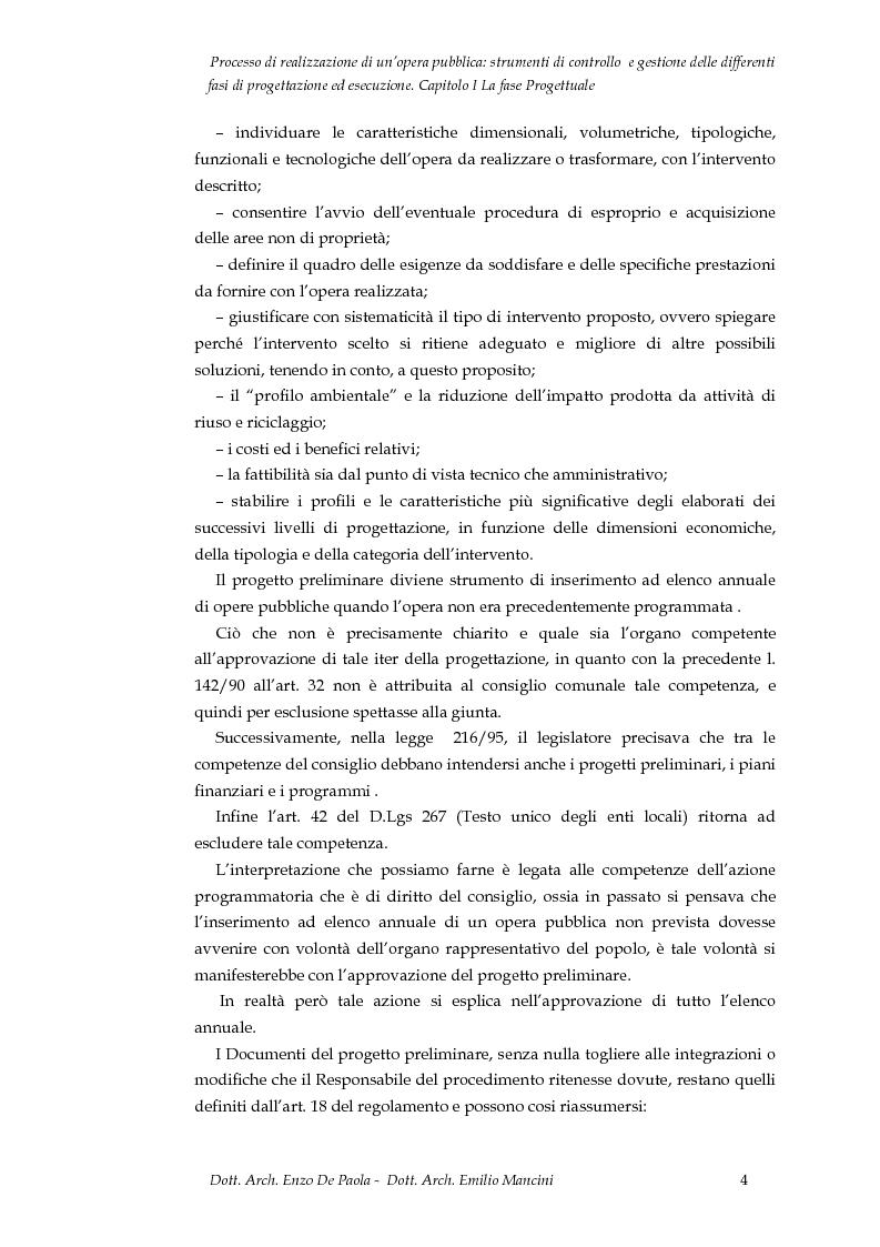 Anteprima della tesi: Il processo di realizzazione di un'opera pubblica: strumenti di controllo e gestione delle differenti fasi di progettazione ed esecuzione, Pagina 5