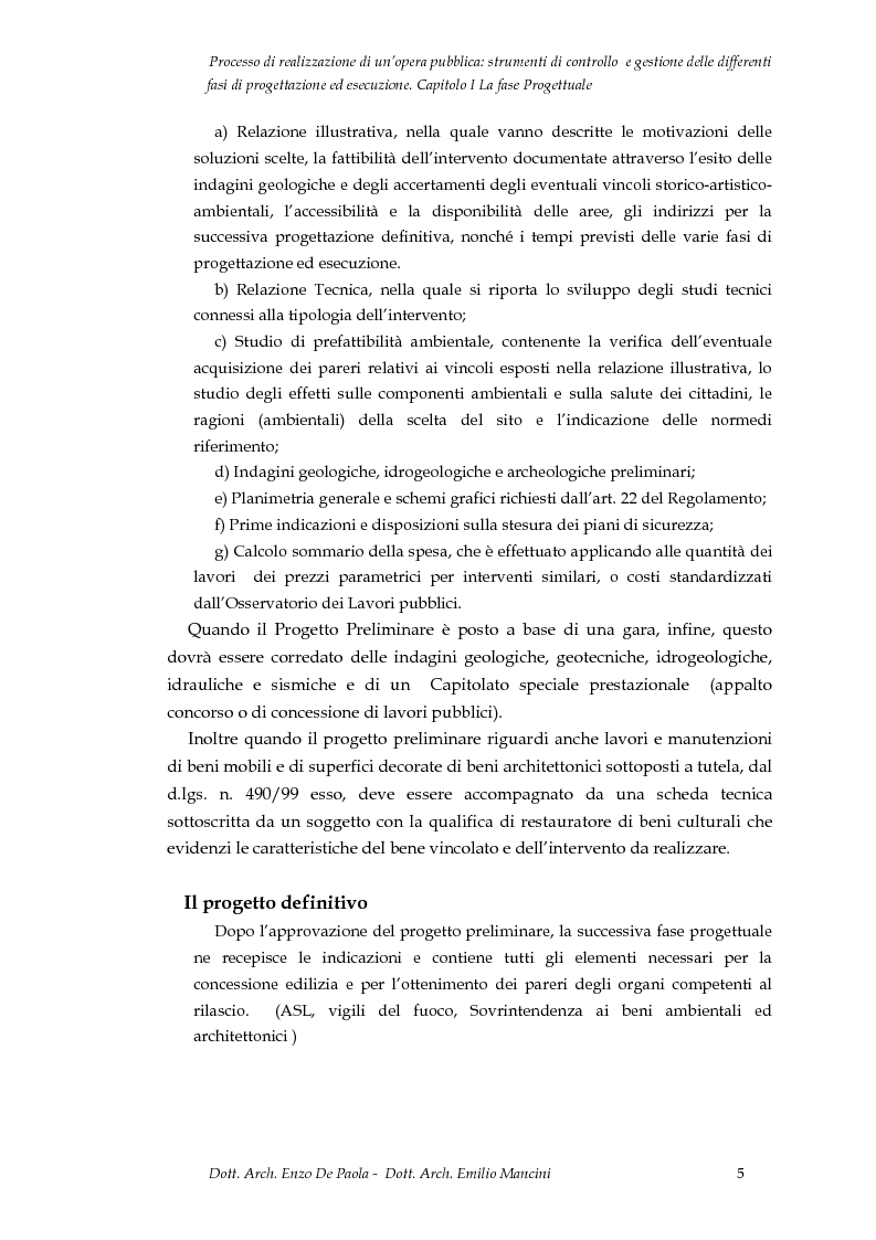 Anteprima della tesi: Il processo di realizzazione di un'opera pubblica: strumenti di controllo e gestione delle differenti fasi di progettazione ed esecuzione, Pagina 6