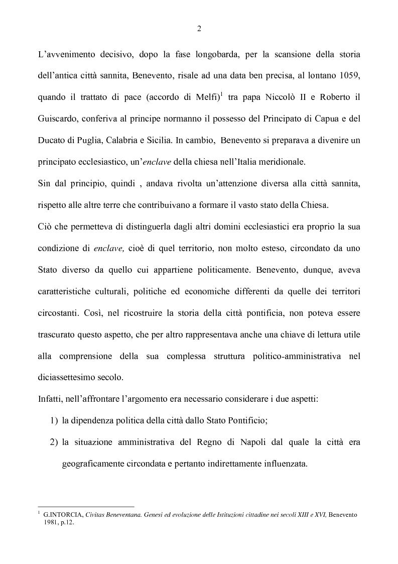 Anteprima della tesi: Benevento tra Stato della Chiesa e Regno di Napoli: politica e amministrazione nel XVII secolo, Pagina 2