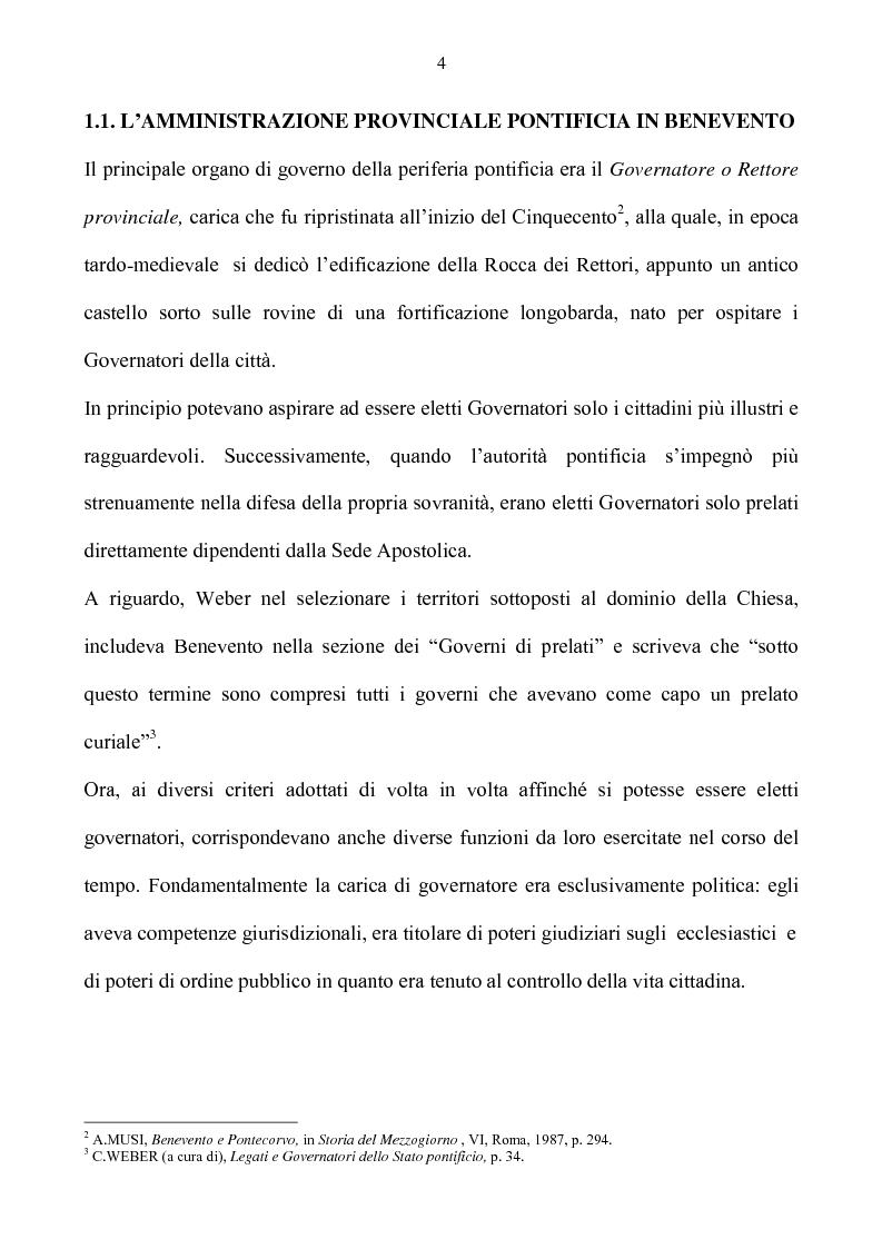 Anteprima della tesi: Benevento tra Stato della Chiesa e Regno di Napoli: politica e amministrazione nel XVII secolo, Pagina 4