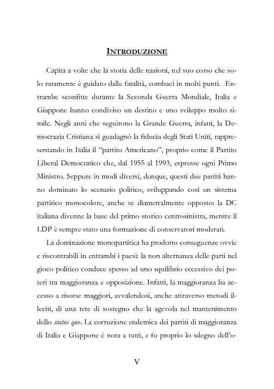 Anteprima della tesi: Democrazia Incompiuta: Analisi delle Difficoltà del Bipolarismo in Giappone, Pagina 1
