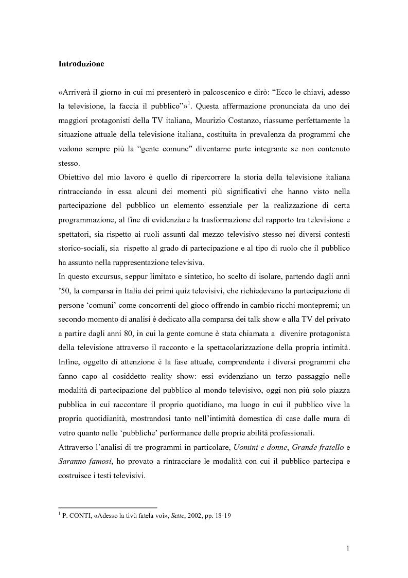 Anteprima della tesi: La ''gente comune'' nella televisione italiana: da pubblico a protagonista dei programmi, Pagina 1