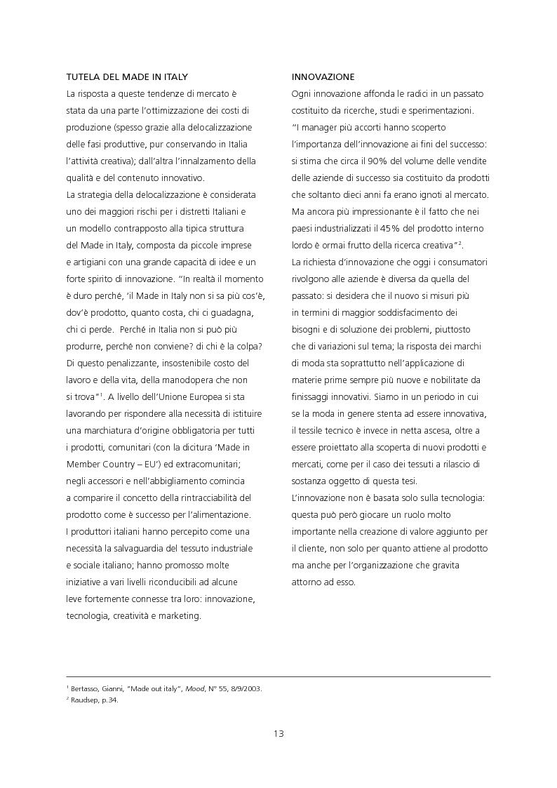 Anteprima della tesi: Il ruolo del design di moda per una strategia di sviluppo e di diffusione dell'innovazione tessile. Applicazione dei tessuti a rilascio di sostanza JL Well Being/Bayer Chemicals Italia per la linea Imec Sentirsi Bene., Pagina 4