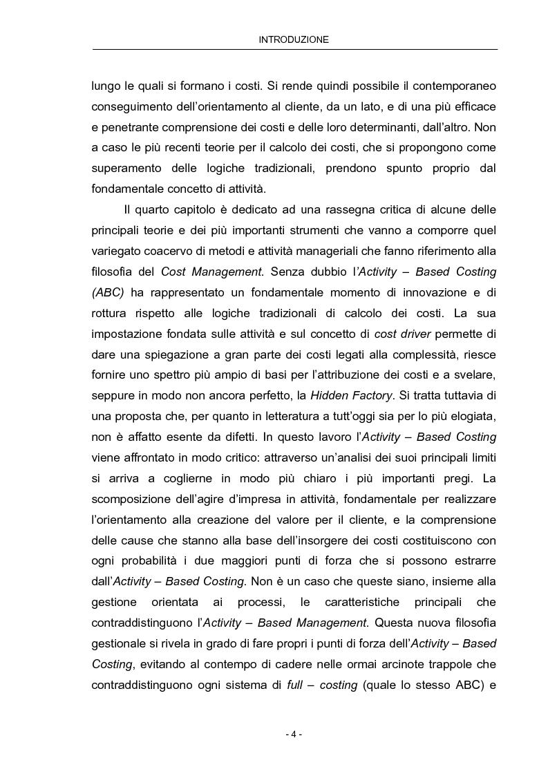 Anteprima della tesi: Cost Management: il caso Beta Plastics, Pagina 4