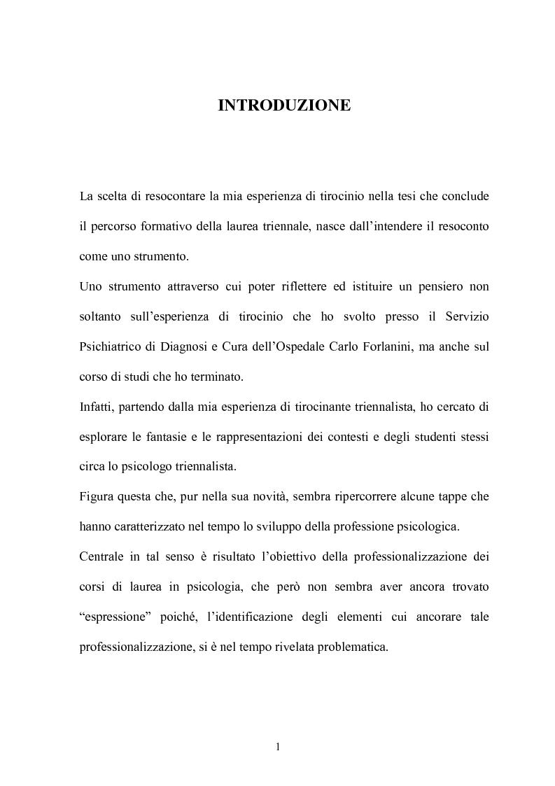 Anteprima della tesi: Resoconto sull'esperienza di tirocinio all'interno del percorso della laurea triennale, Pagina 1