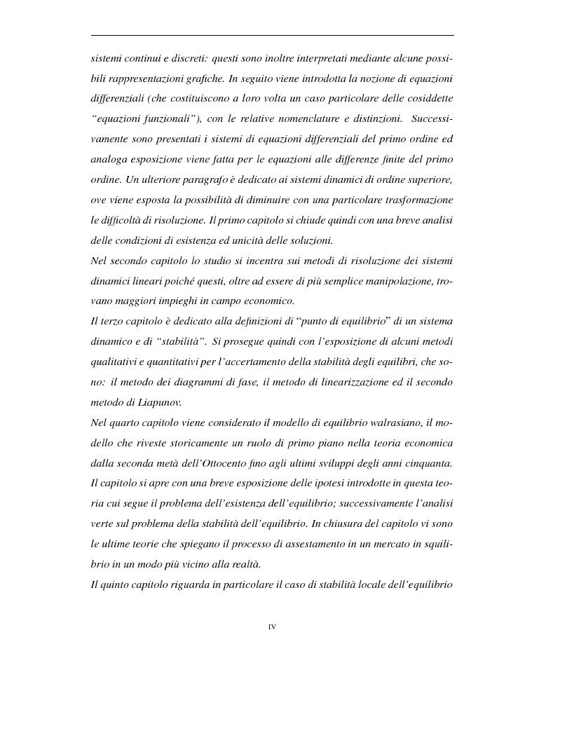 Anteprima della tesi: Sistemi dinamici: questioni di stabilità ed applicazioni economiche, Pagina 2