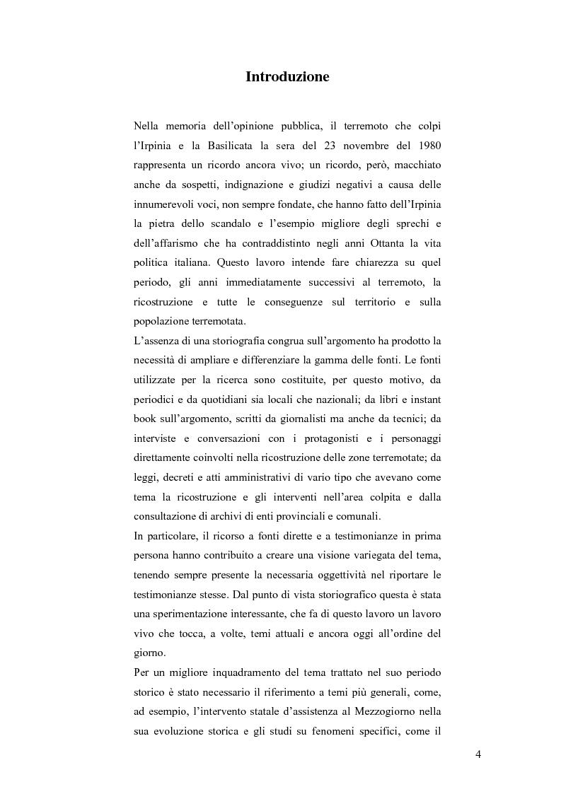 Anteprima della tesi: Irpinia storia e memoria del terremoto, Pagina 1