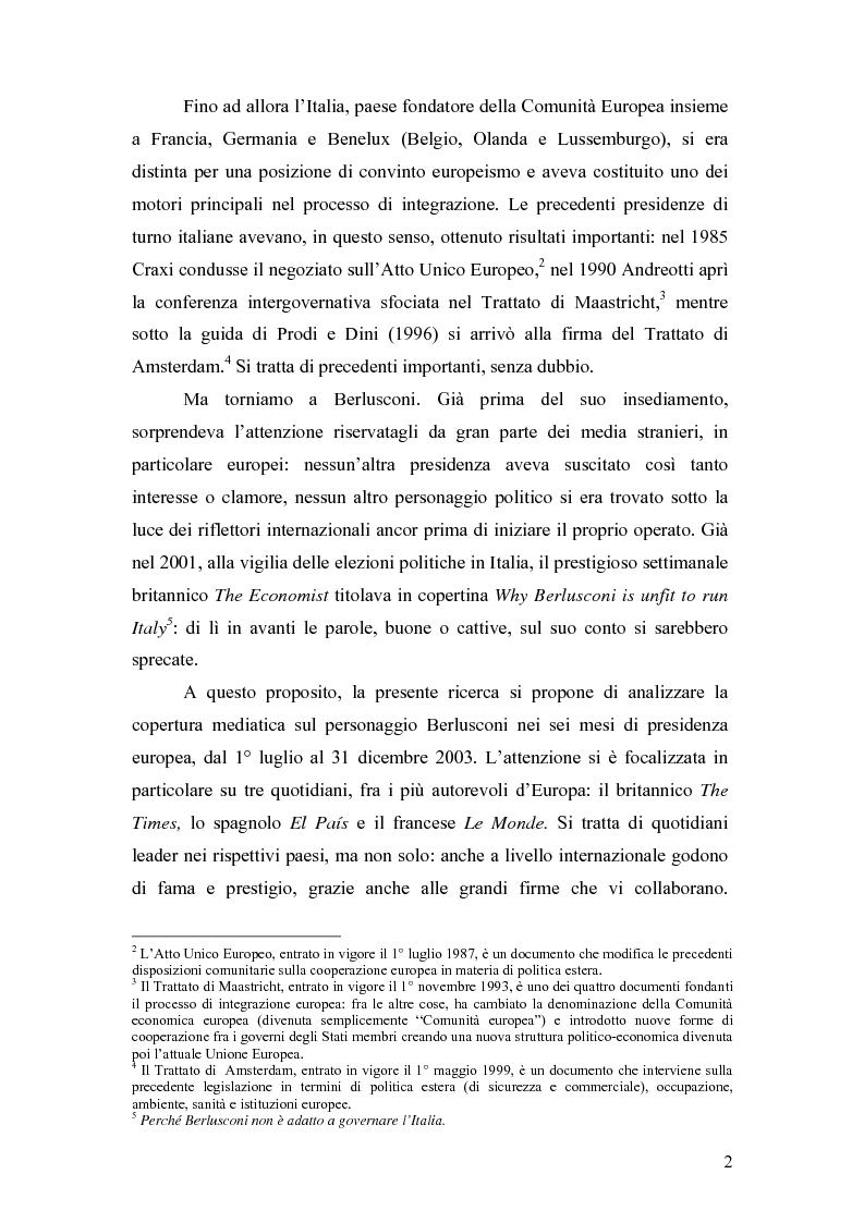 Anteprima della tesi: ''So, Mr. Berlusconi?'' La stampa estera e il semestre di presidenza italiana in Europa, Pagina 2