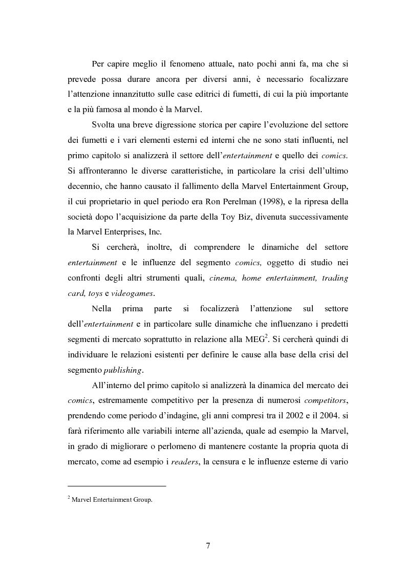 Anteprima della tesi: Il cinema come strumento di risanamento delle case editrici di fumetti: la Marvel, Pagina 2