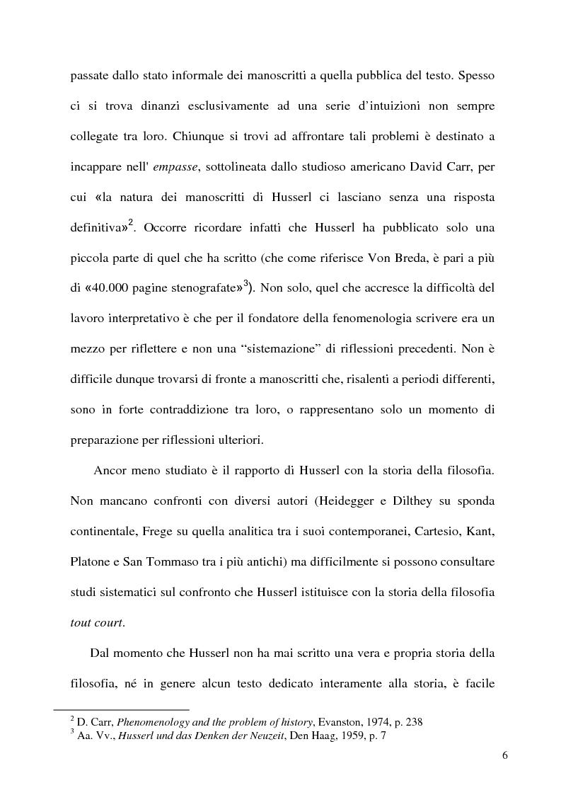 Anteprima della tesi: Husserl storico della filosofia, Pagina 4