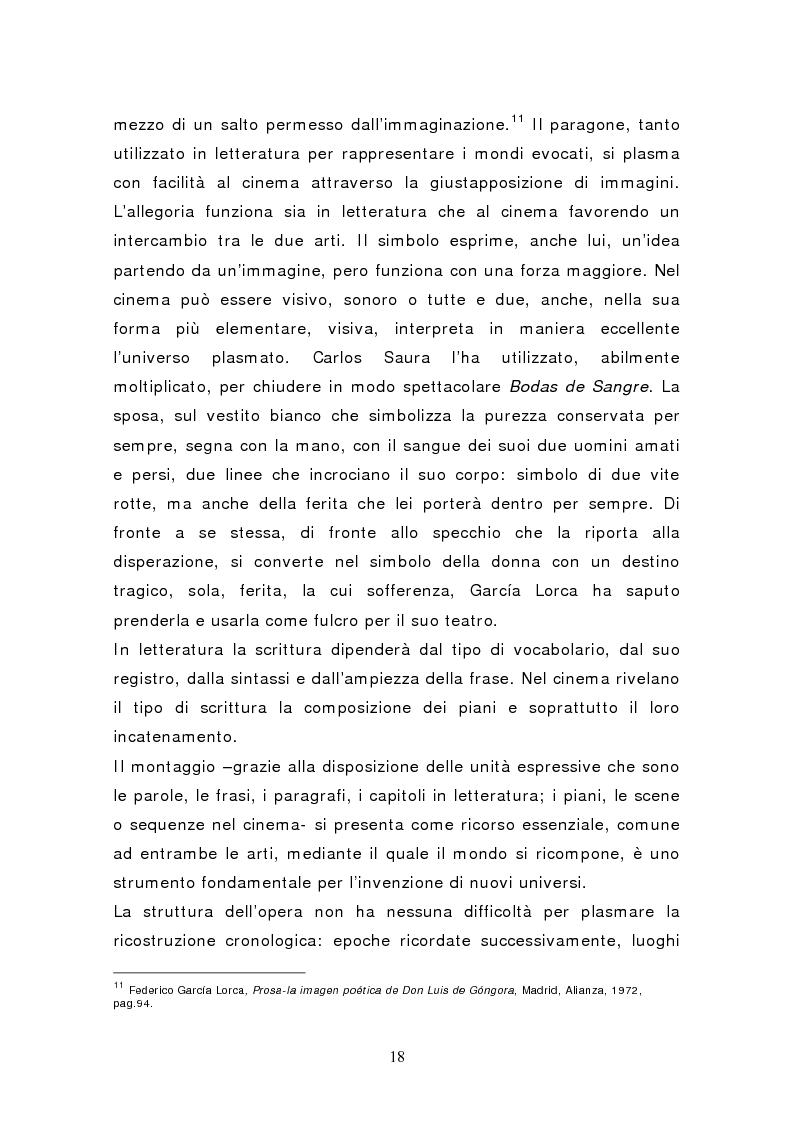Anteprima della tesi: Federico García Lorca: Bodas de Sangre, dal testo letterario al testo filmico, Pagina 13