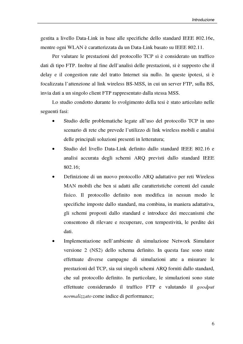 Anteprima della tesi: Un protocollo ARQ adattativo per reti WirelessMAN mobili – IEEE 802.16e, Pagina 6