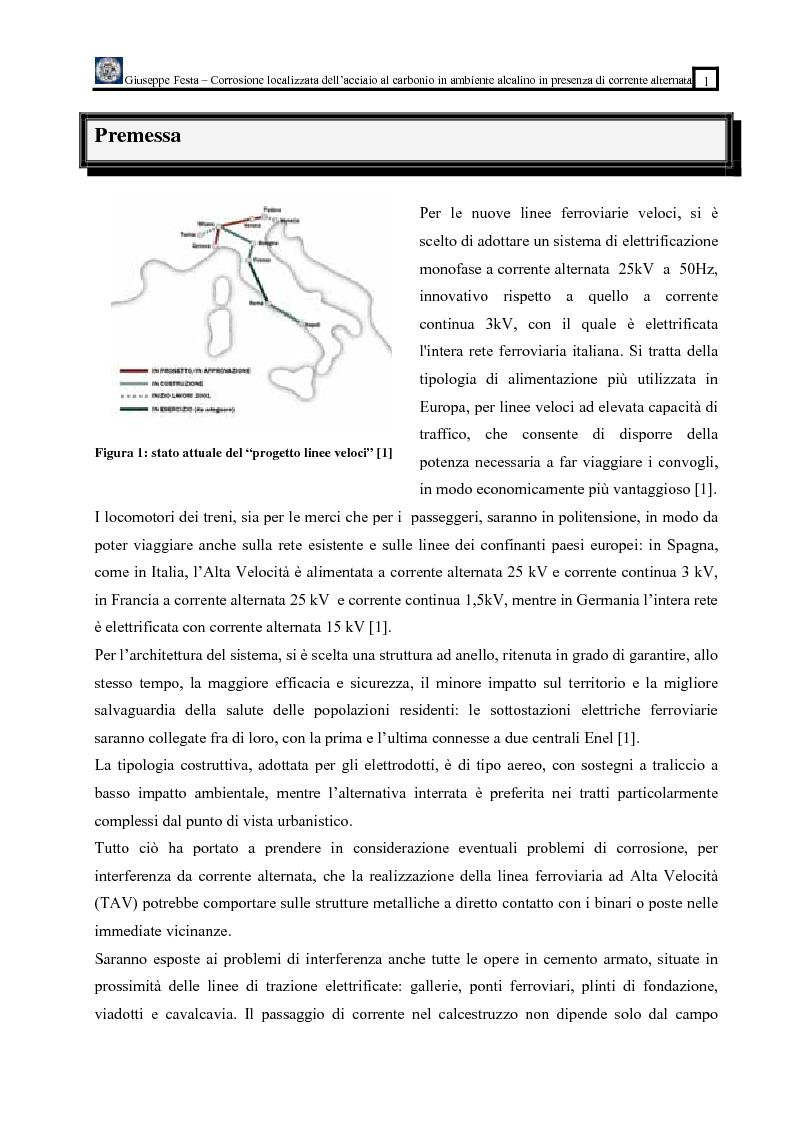 Anteprima della tesi: Corrosione localizzata dell' acciaio al carbonio in ambiente alcalino in presenza di corrente alternata, Pagina 1
