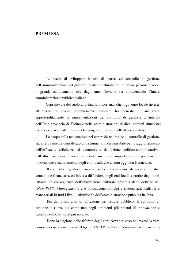 Il controllo di gestione nell'amministrazione del governo locale - Tesi di Laurea