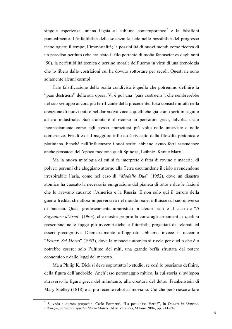 Anteprima della tesi: Philip K. Dick, tra filosofia e mito, Pagina 5