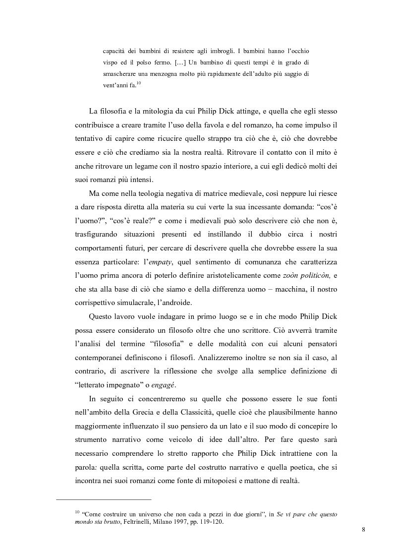 Anteprima della tesi: Philip K. Dick, tra filosofia e mito, Pagina 7