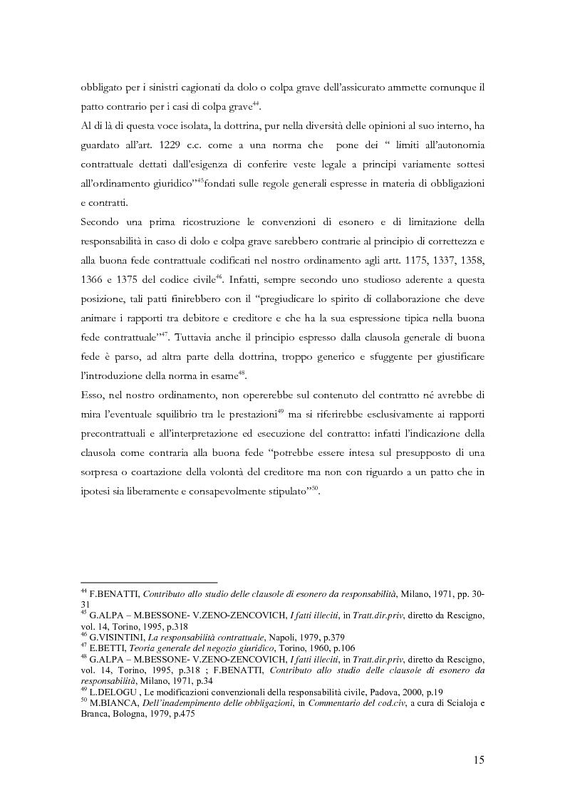 Anteprima della tesi: Le clausole di esclusione e di limitazione della responsabilità, Pagina 15