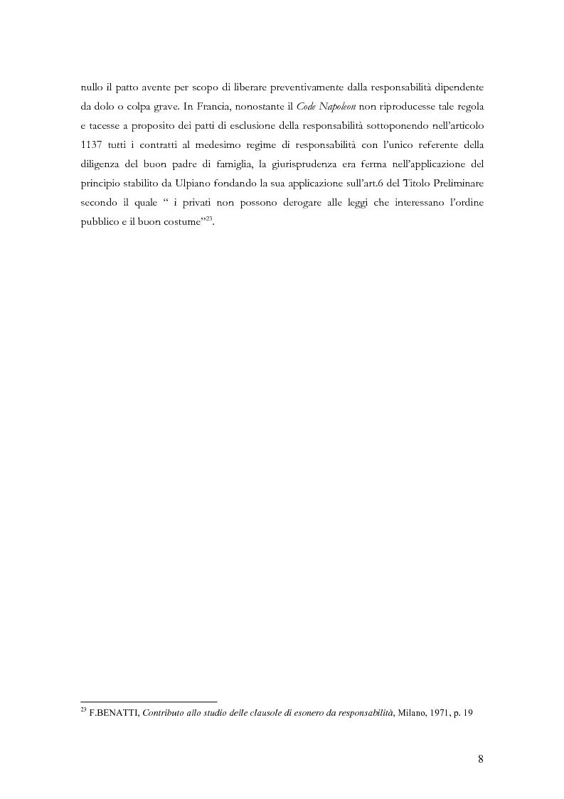 Anteprima della tesi: Le clausole di esclusione e di limitazione della responsabilità, Pagina 8