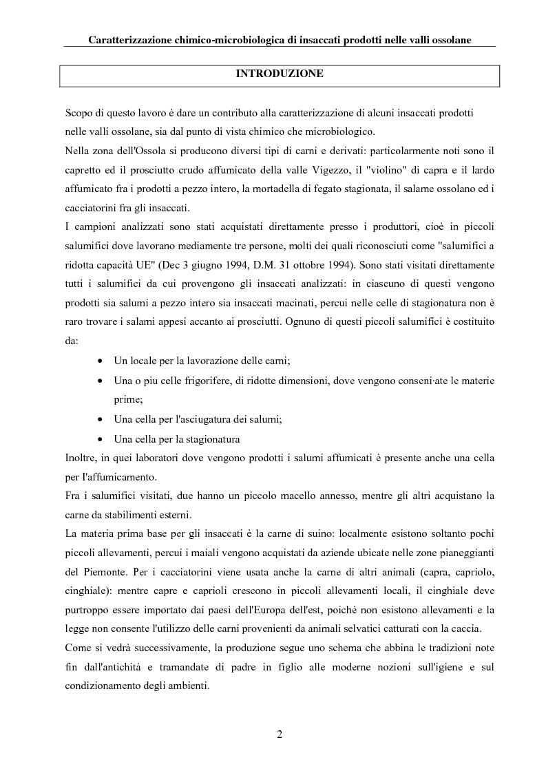 Anteprima della tesi: Caratterizzazione chimico-microbiologica di insaccati prodotti nelle valli ossolane, Pagina 1