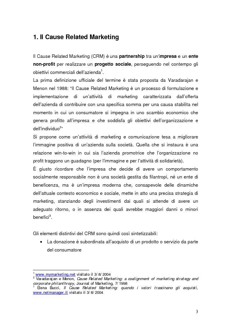 Anteprima della tesi: Cause related marketing: il caso Dash Missione Bontà, Pagina 1