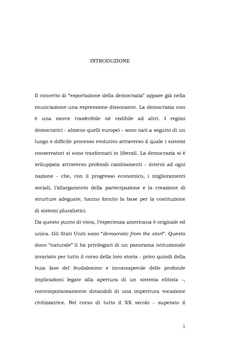 Anteprima della tesi: L'esportazione della democrazia l'esperienza statunitense in America centrale, Pagina 1