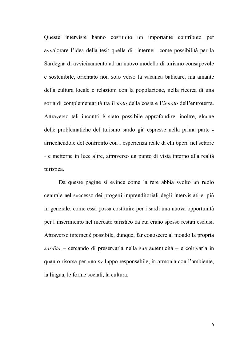 Anteprima della tesi: Internet: un valore aggiunto per il turismo in Sardegna?, Pagina 5