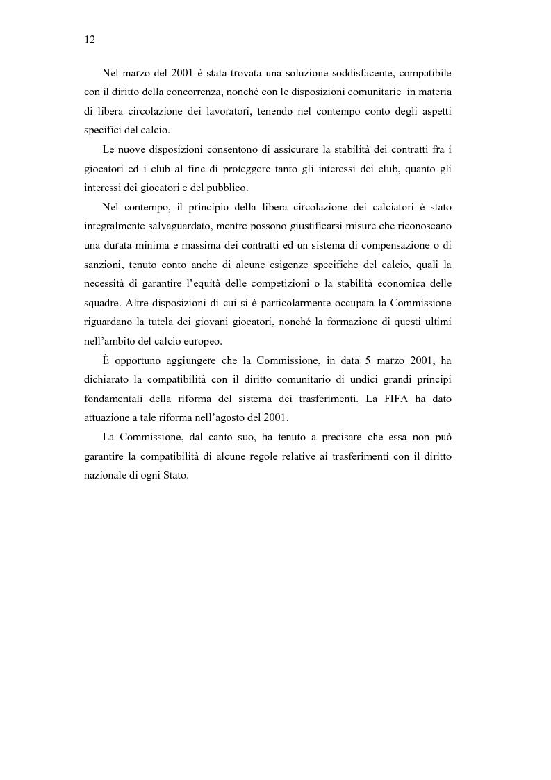 Anteprima della tesi: La libera circolazione degli sportivi, Pagina 12