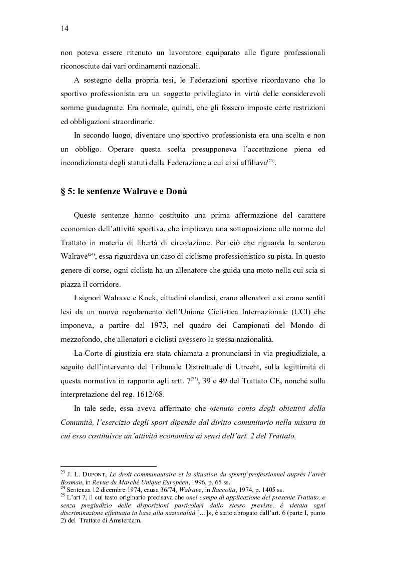 Anteprima della tesi: La libera circolazione degli sportivi, Pagina 14