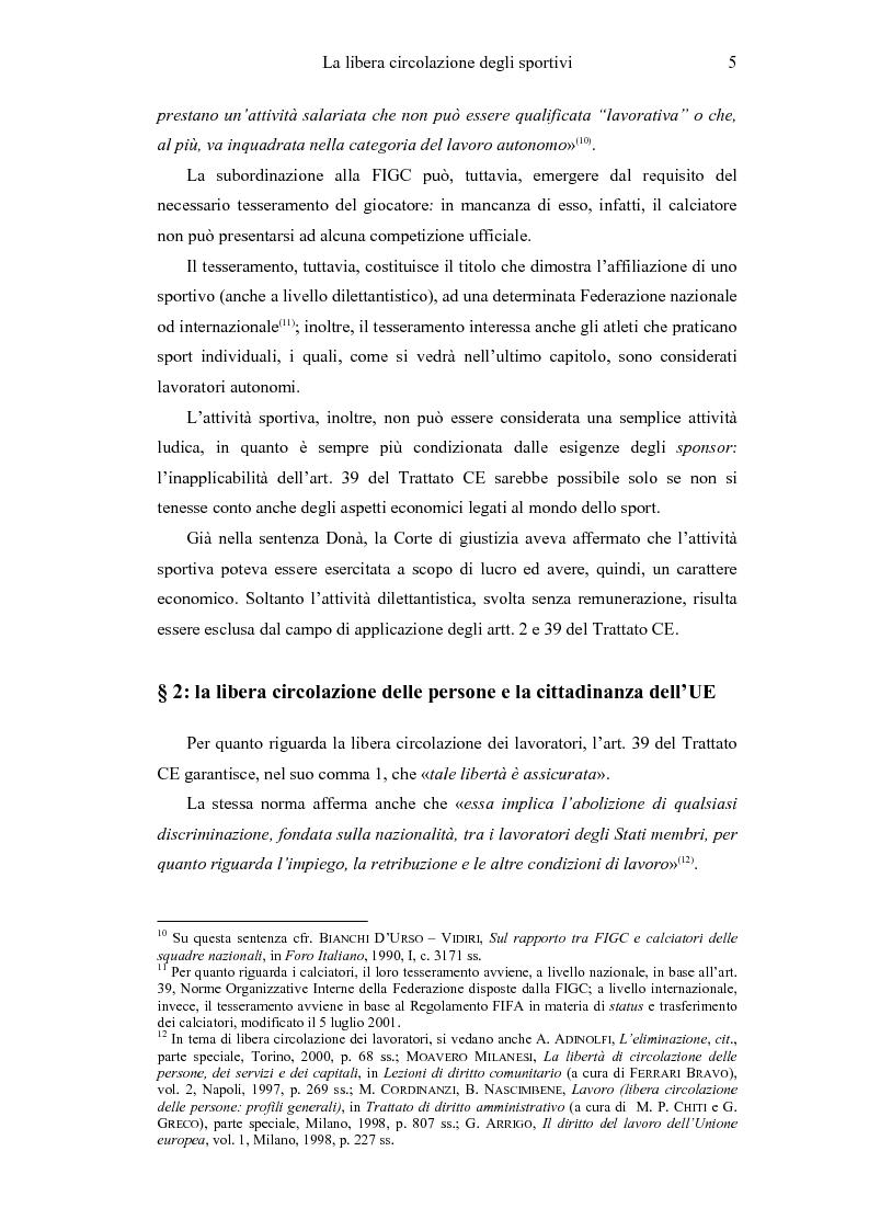 Anteprima della tesi: La libera circolazione degli sportivi, Pagina 5