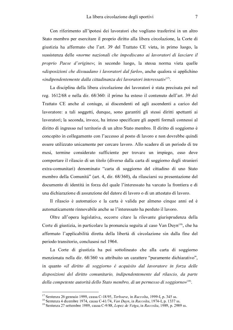 Anteprima della tesi: La libera circolazione degli sportivi, Pagina 7