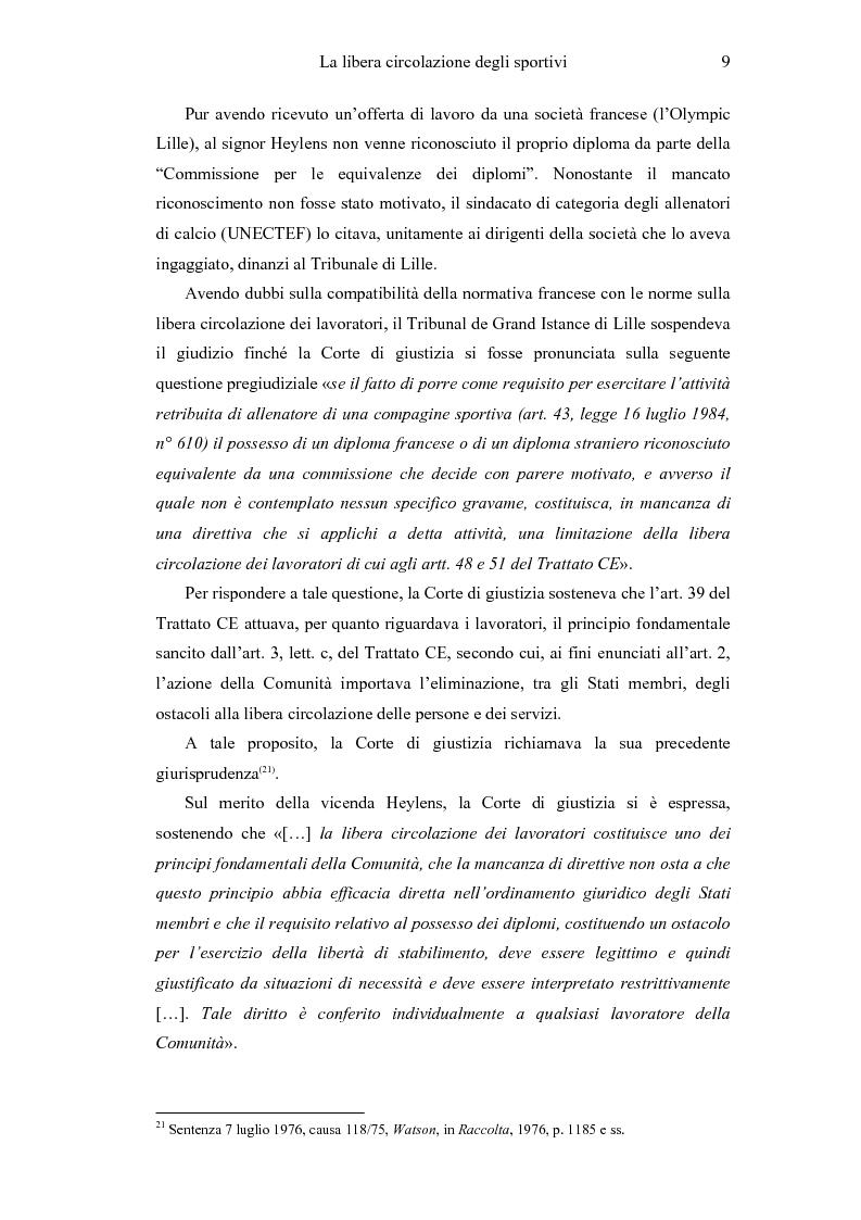 Anteprima della tesi: La libera circolazione degli sportivi, Pagina 9