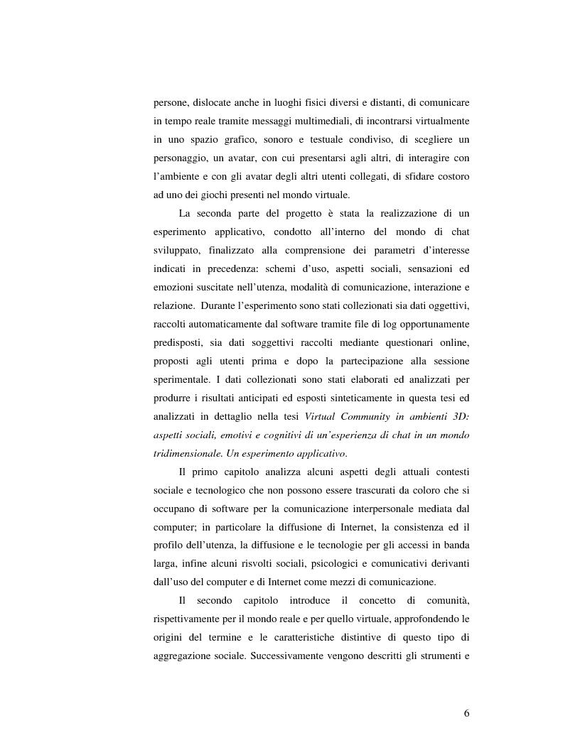 Anteprima della tesi: Virtual Community in ambienti 3D: lo sviluppo delle relazioni umane in un sistema di Chat Tridimensionale. L'approccio all'interface design ed alla descrizione sistemica., Pagina 2