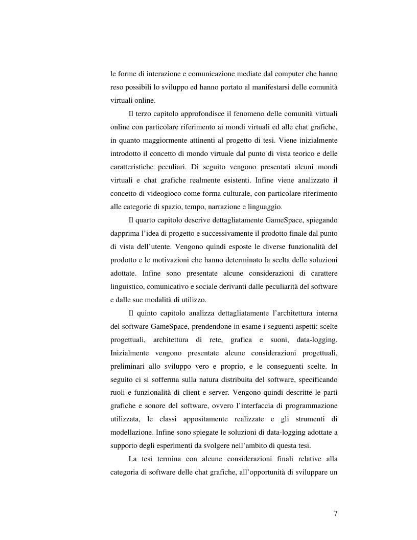 Anteprima della tesi: Virtual Community in ambienti 3D: lo sviluppo delle relazioni umane in un sistema di Chat Tridimensionale. L'approccio all'interface design ed alla descrizione sistemica., Pagina 3