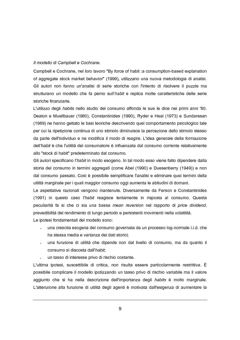 Anteprima della tesi: Habit Persistence e Equity Premium Puzzle: un'applicazione del modello di Campbell e cochrane al caso Europeo, Pagina 3