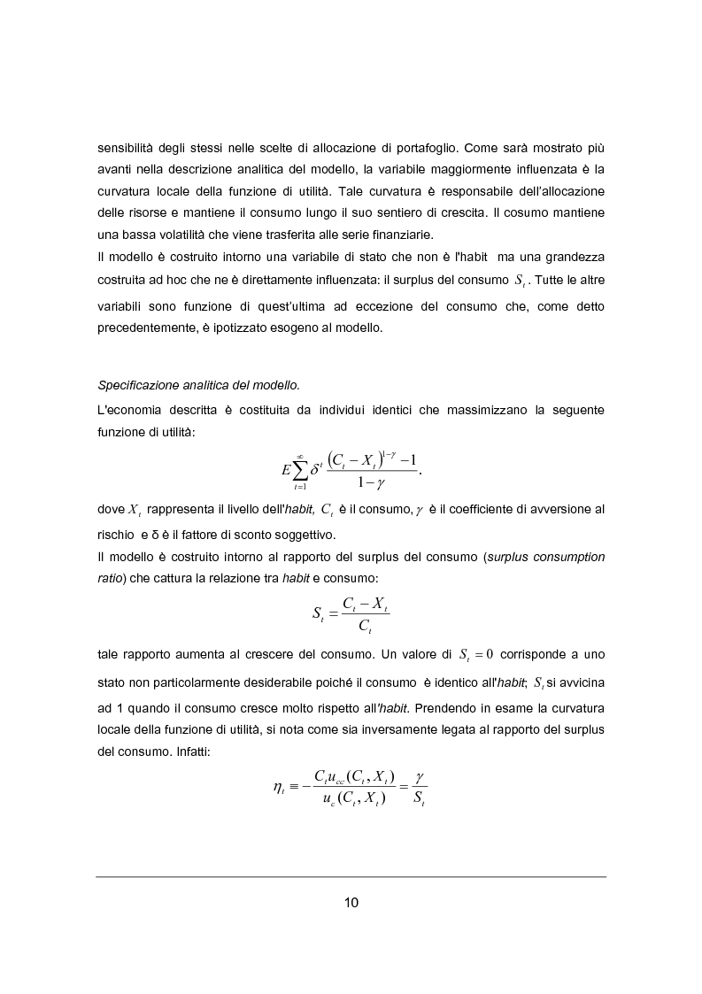 Anteprima della tesi: Habit Persistence e Equity Premium Puzzle: un'applicazione del modello di Campbell e cochrane al caso Europeo, Pagina 4