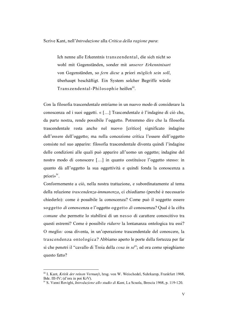 Anteprima della tesi: Trascendenza e immanenza nel trascendentalismo kantiano, Pagina 5