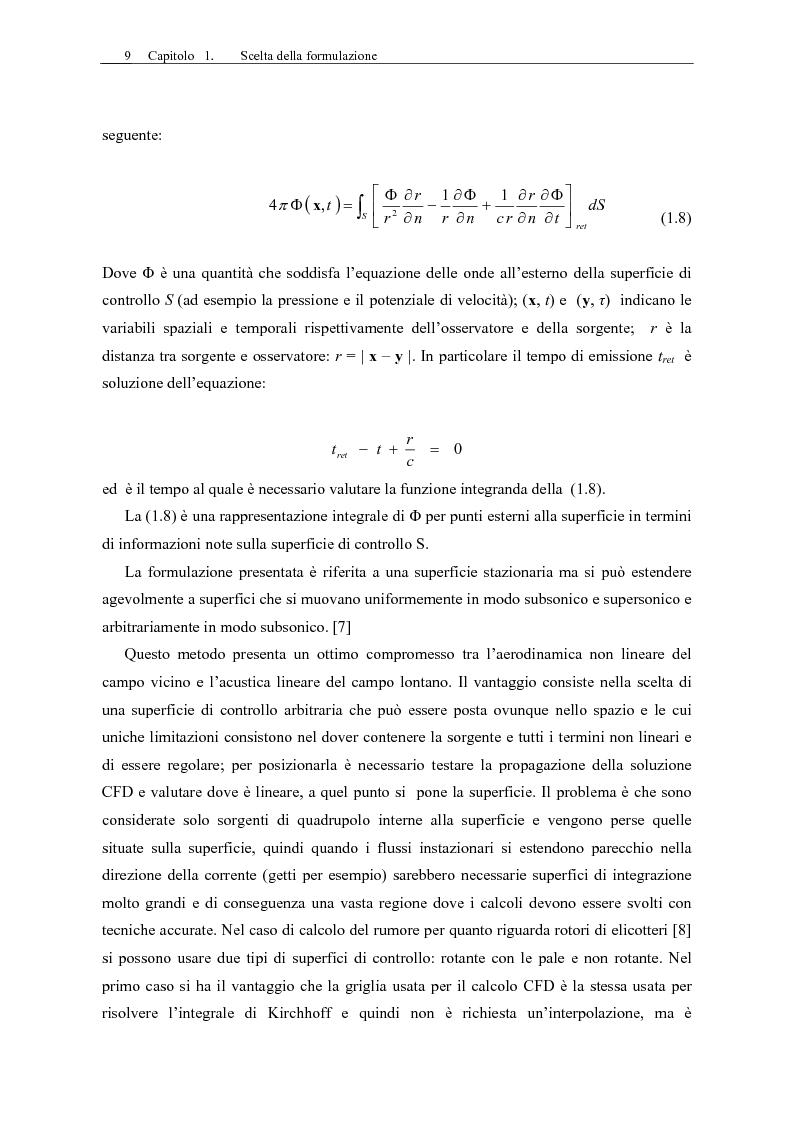 Anteprima della tesi: Sviluppo di un codice di aeroacustica basato sulla formulazione di Ffwocs Williams-Hawkings nella forma di Farassat, Pagina 11