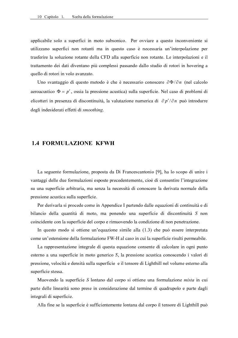 Anteprima della tesi: Sviluppo di un codice di aeroacustica basato sulla formulazione di Ffwocs Williams-Hawkings nella forma di Farassat, Pagina 12